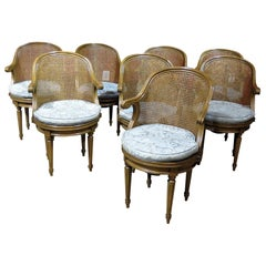 Set of 8 Louis XV Style Cane Back Dining Chairs attributed to Maison Janson
