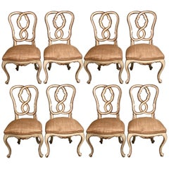 Set of 8 Louis XV Style Dining Chairs, Parcel-Gilt and Paint Pretzel Heart Backs