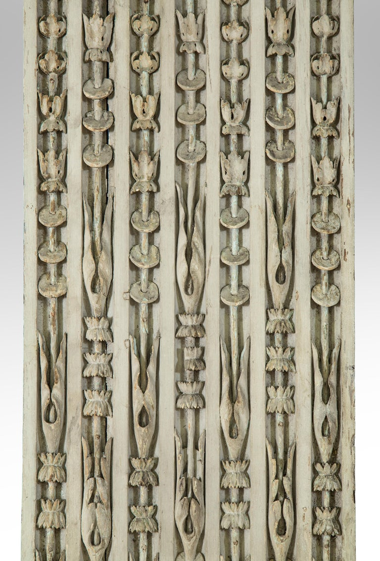French Set of 8 Louis XVI Carved and Painted Oak Pilasters For Sale