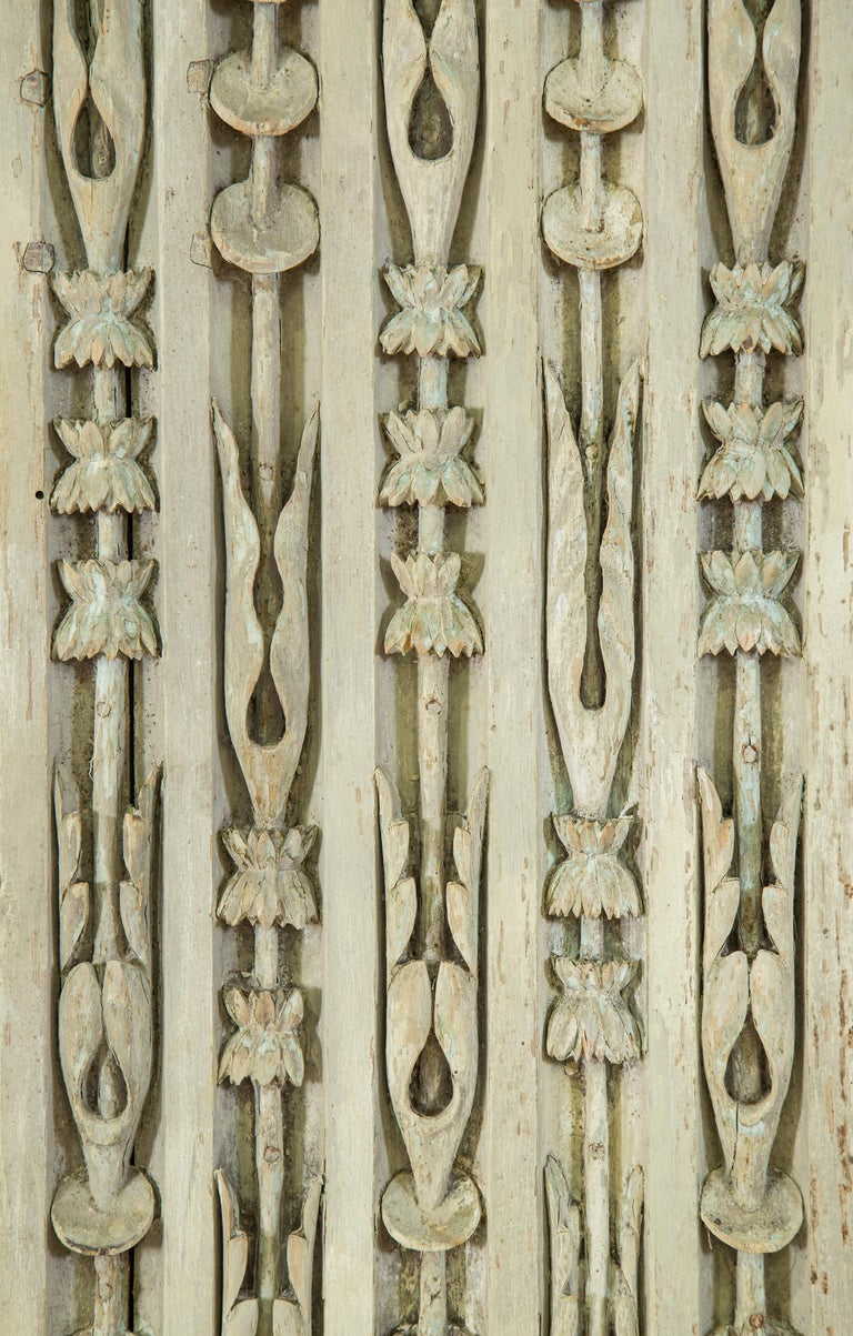 Set of 8 Louis XVI Carved and Painted Oak Pilasters In Fair Condition For Sale In New York, NY
