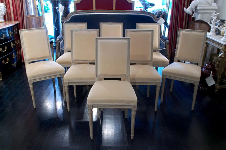 French Set of 8 Louis XVI Style Chairs For Sale