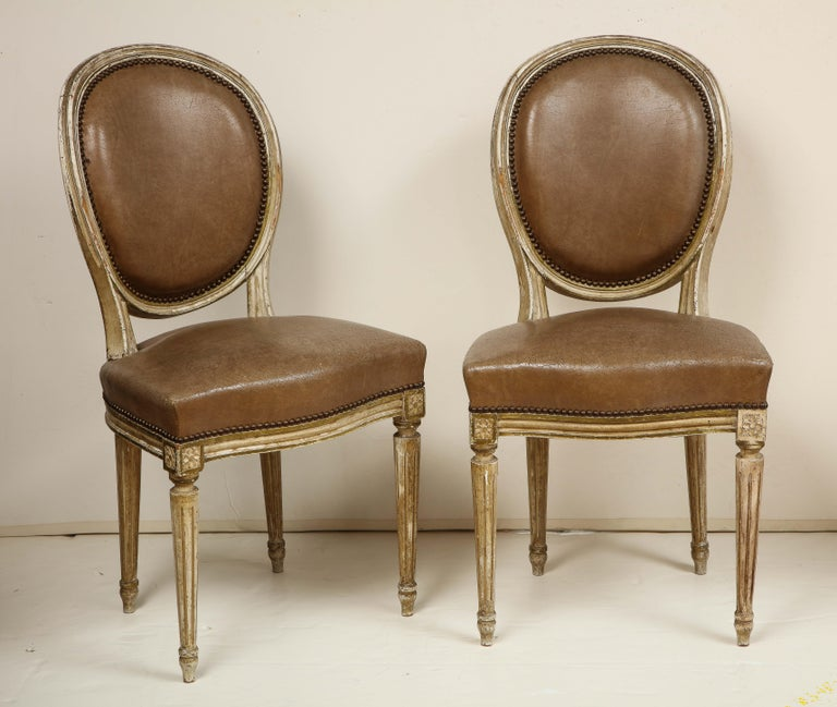 French Set of 8 Louis XVI Style Dining Chairs For Sale