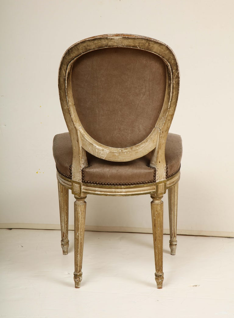 Leather Set of 8 Louis XVI Style Dining Chairs For Sale