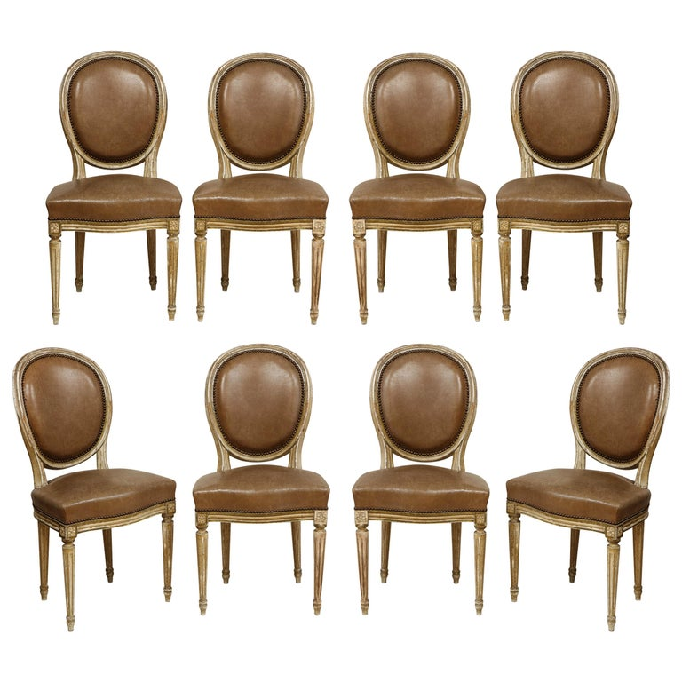 Set of 8 Louis XVI Style Dining Chairs For Sale