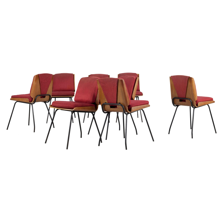 "Italian Set of 8 ""Lucania"" Chair, Design by Giancarlo De Carlo, by Arflex, 1954"
