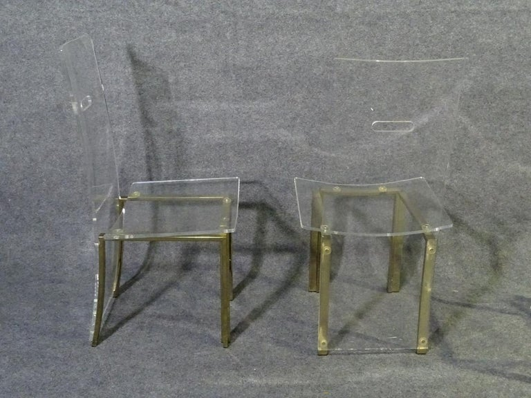Set of 8 Lucite Dining Chairs In Good Condition For Sale In Brooklyn, NY