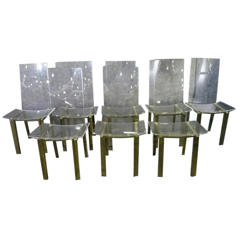 Set of 8 Lucite Dining Chairs For Sale