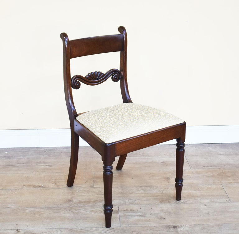 George III Set of 8 Mahogany Dining Chairs, 19th Century For Sale