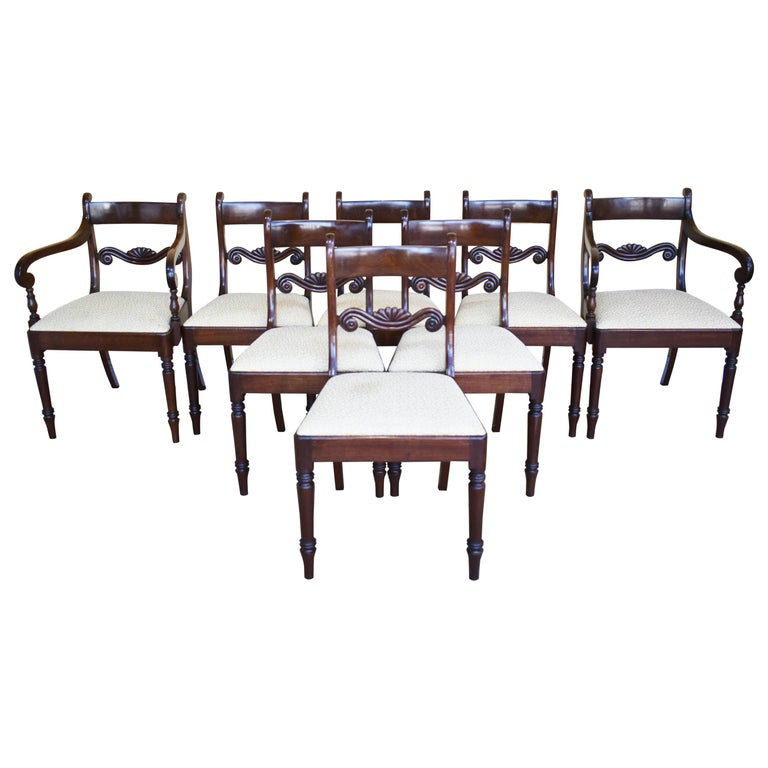 Set of 8 Mahogany Dining Chairs, 19th Century For Sale