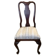 Set of 8 Mahogany Queen Anne Style Dining Chairs with Upholstered Seats