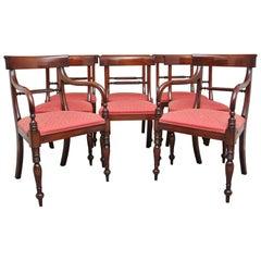 Set of 8 Mahogany Rope Back Dining Chairs