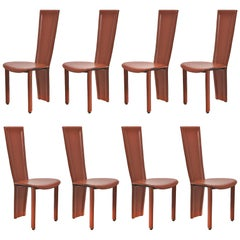 """Set of 8 """"Marilyn"""" Italian Post-Modern Leather Chairs"""