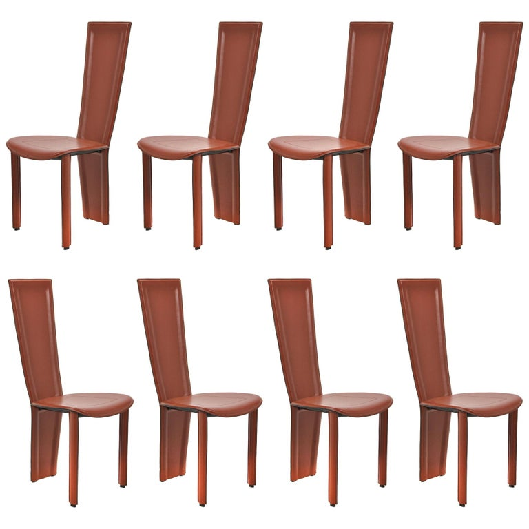 """Set of 8 """"Marilyn"""" Italian Post-Modern Leather Chairs For Sale"""
