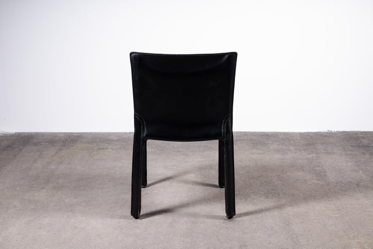 Set of 8 Mario Bellini CAB 414 & 412 Chairs in Black Leather for Cassina For Sale 5
