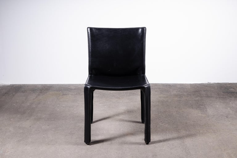 Set of 8 Mario Bellini CAB 414 & 412 Chairs in Black Leather for Cassina For Sale 2