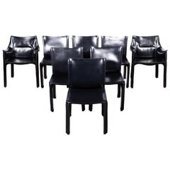 Set of 8 Mario Bellini CAB 414 & 412 Chairs in Black Leather for Cassina