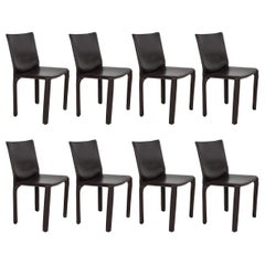 Set of 8 Mario Bellini Dining Chairs in Chocolate Brown