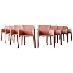Set of 8 Mario Bellini Leather Cab Chairs