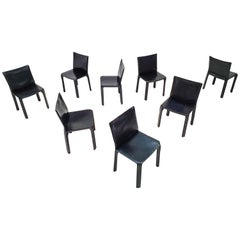 Set of 8 Mario Bellini Leather CAB Chairs in Black for Cassina, 1977, Italy