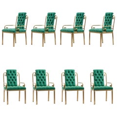Set of 8 Mastercraft Greek Key Armchairs in Jade Green Velvet Upholstery