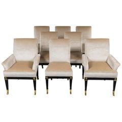 Set of 8 Mastercraft Silk Velvet Dining Chairs