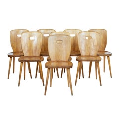Set of 8 Mid-20th Century Scandinavian Solid Pine Dining Chairs