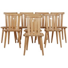 Set of 8 Mid-20th Century Swedish Pine Dining Chairs by Svensk Fur
