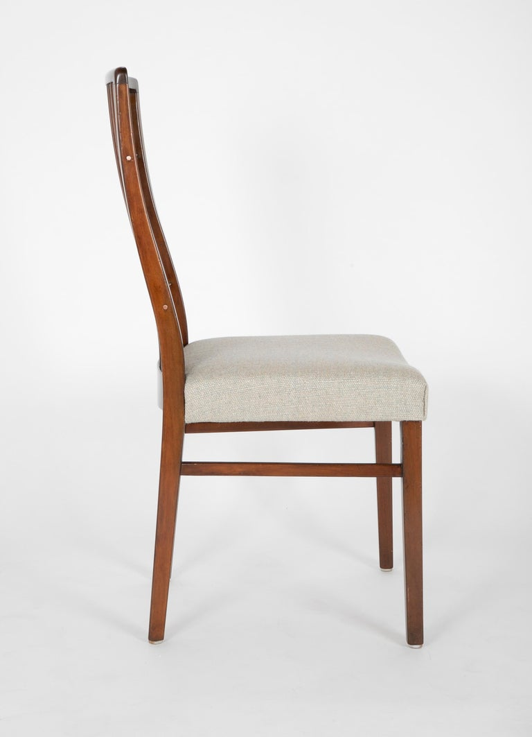 Set of 8 Mid-Century Danish Dining Chairs of Mahogany with Copper Accents For Sale 5