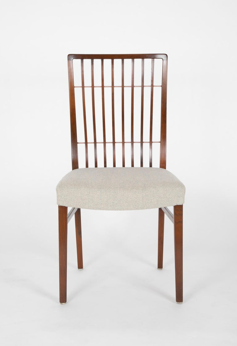 Set of 8 Mid-Century Danish Dining Chairs of Mahogany with Copper Accents In Good Condition For Sale In Stamford, CT
