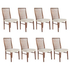 Set of 8 Mid-Century Danish Dining Chairs of Mahogany with Copper Accents
