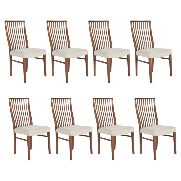 Set of 8 Mid-Century Danish Dining Chairs of Mahogany with Copper Accents For Sale