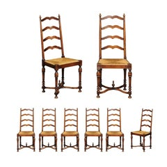 Set of Eight Midcentury French Walnut Ladderback Chairs, circa 1950