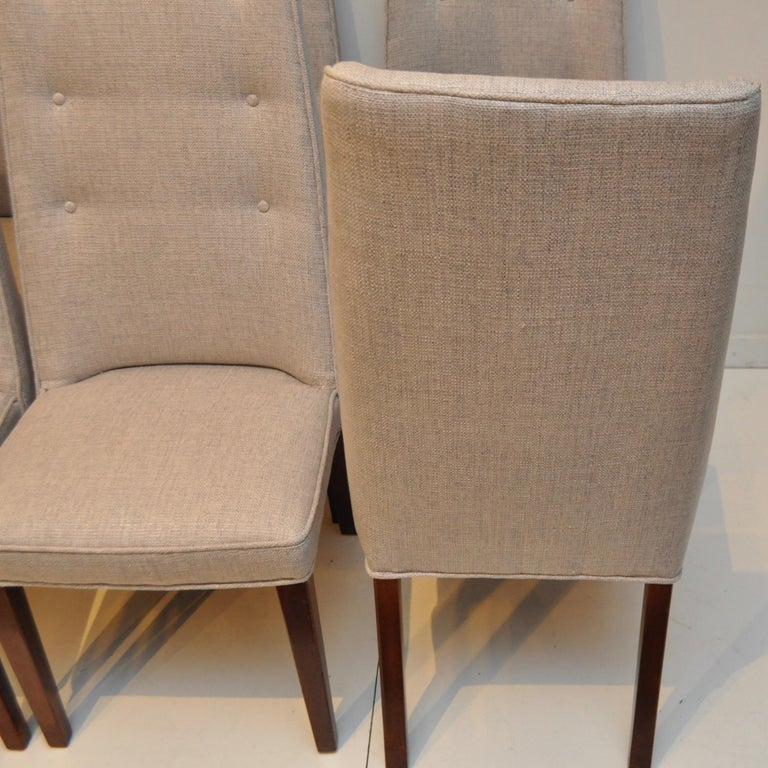 Set of 8 Midcentury High-Backed Dining Chairs from Denmark In Good Condition For Sale In Darien, CT