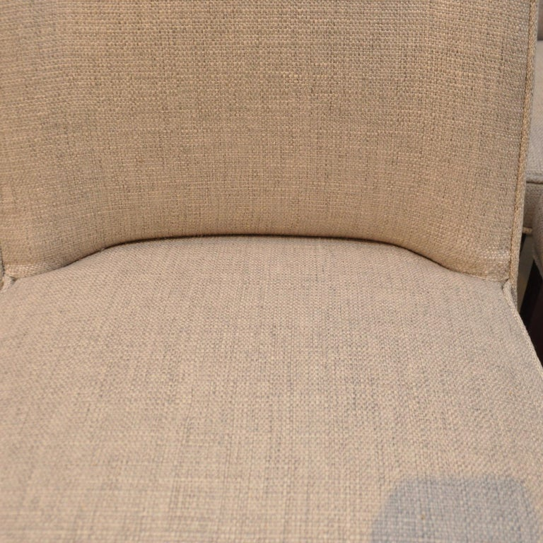 Linen Set of 8 Midcentury High-Backed Dining Chairs from Denmark For Sale