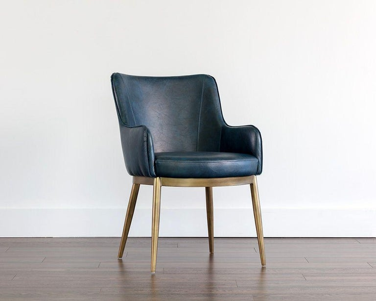 Set of 8, Modern Dining Chairs in Distressed Blue and Antique Brass In New Condition For Sale In New York, NY