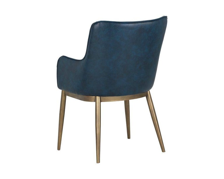 Contemporary Set of 8, Modern Dining Chairs in Distressed Blue and Antique Brass For Sale