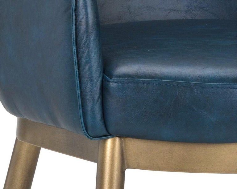 Metal Set of 8, Modern Dining Chairs in Distressed Blue and Antique Brass For Sale