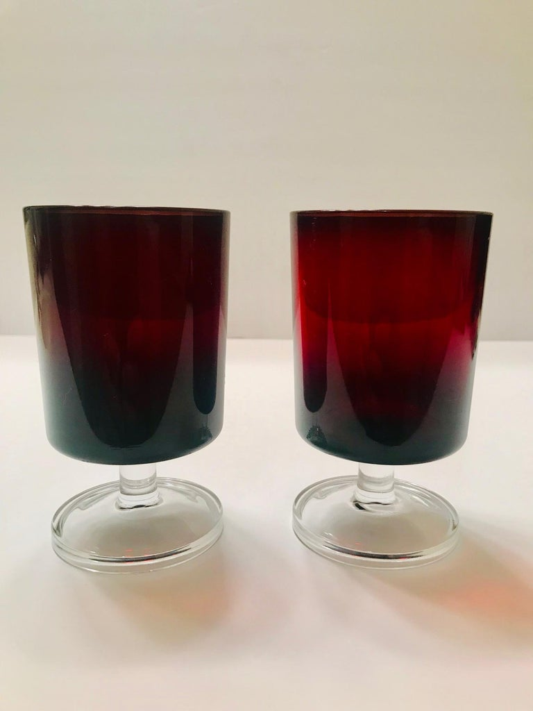Set of 8 Mid-Century Modern Red Garnet Wine Goblets by Cristal d'Arques For Sale 4