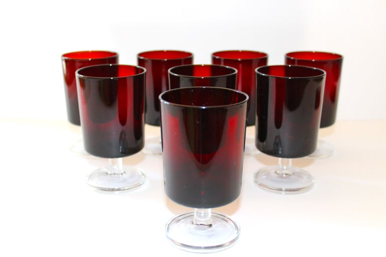 Mid-20th Century Set of 8 Mid-Century Modern Wine Glasses in Red, 1960s For Sale