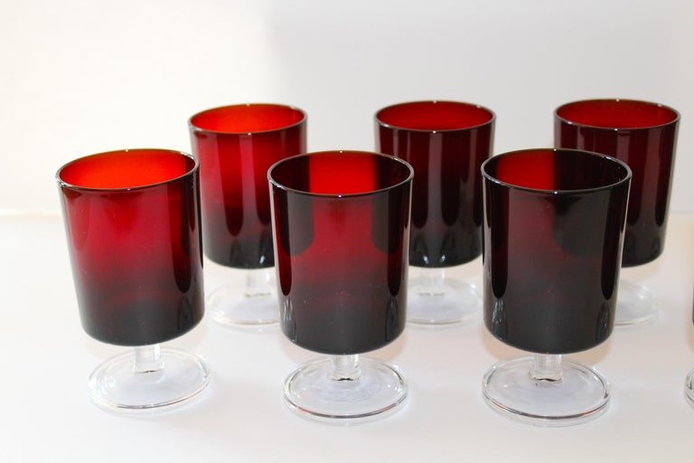 Set of 8 Mid-Century Modern Wine Glasses in Red, 1960s For Sale 1