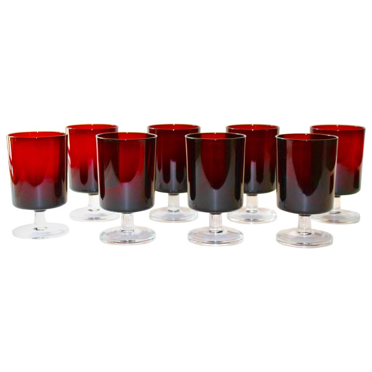 Set of 8 Mid-Century Modern Wine Glasses in Red, 1960s For Sale