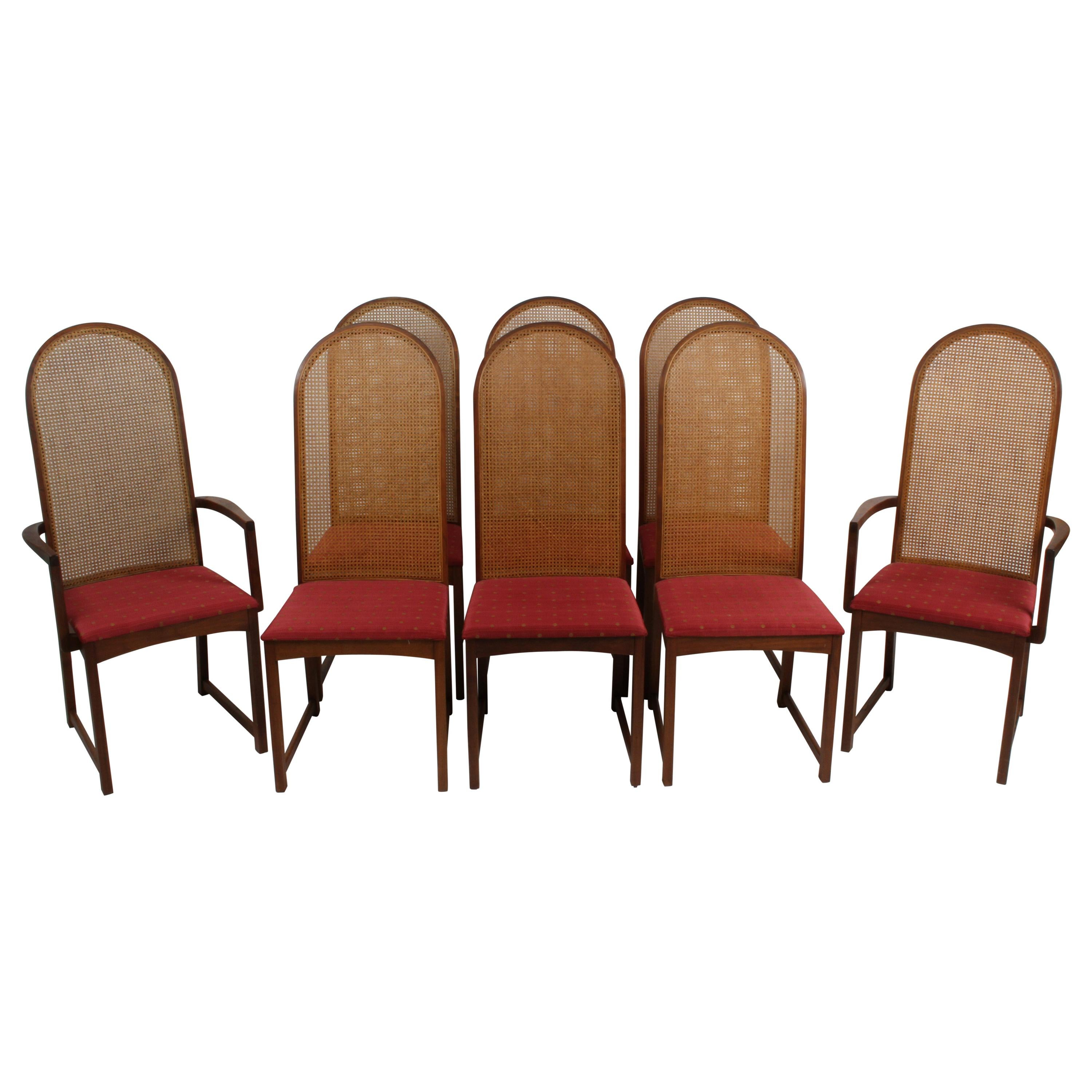 Set of 8 Milo Baughman for Directional Cane Back Walnut Frame Dining Chairs