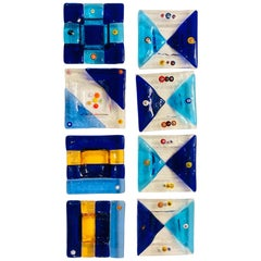 Set of 8 Mini Murano Italian Square Dishes/Ashtrays