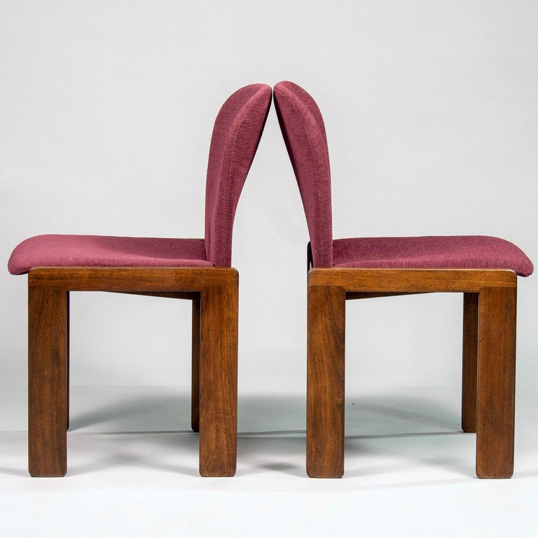 Italian Set of 8 Model 121 Chairs in Walnut by Afra and Tobia Scarpa for Cassina  For Sale