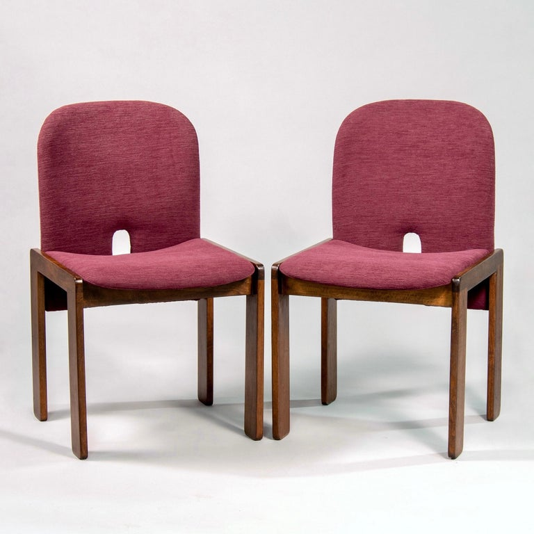20th Century Set of 8 Model 121 Chairs in Walnut by Afra and Tobia Scarpa for Cassina  For Sale