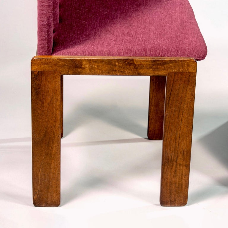 Upholstery Set of 8 Model 121 Chairs in Walnut by Afra and Tobia Scarpa for Cassina  For Sale