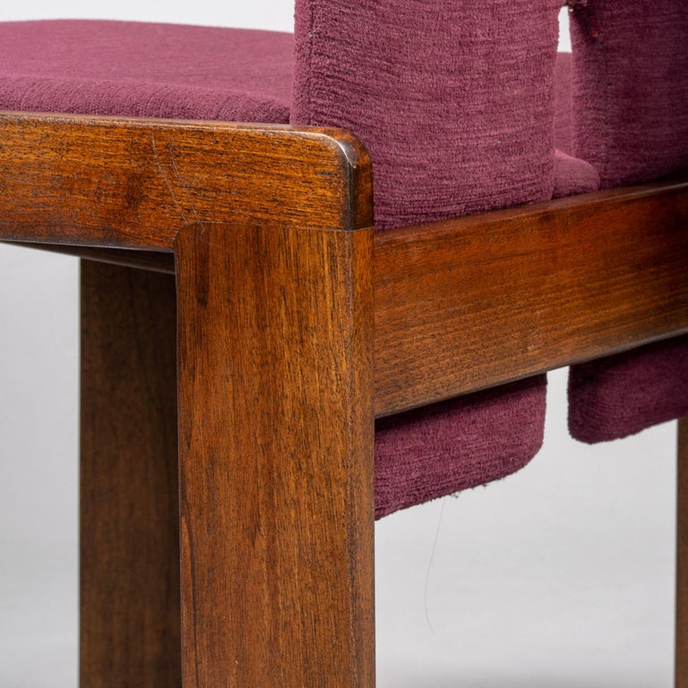 Set of 8 Model 121 Chairs in Walnut by Afra and Tobia Scarpa for Cassina  For Sale 2