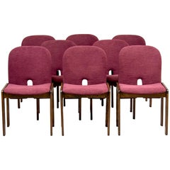 Set of 8 Model 121 Chairs in Walnut by Afra and Tobia Scarpa for Cassina