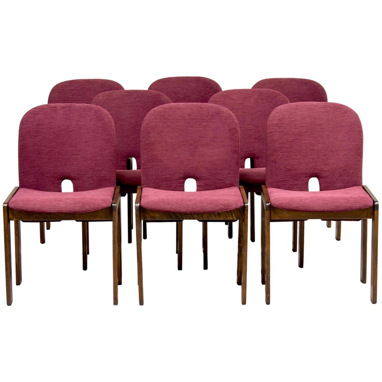Set of 8 Model 121 Chairs in Walnut by Afra and Tobia Scarpa for Cassina  For Sale