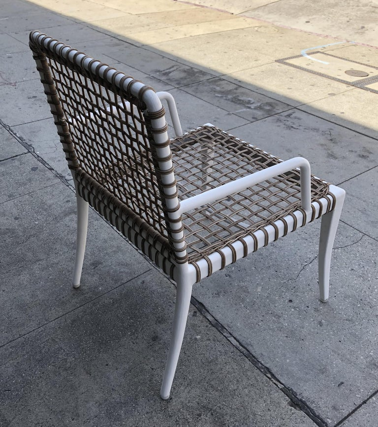 Set of 8 Modern Armchairs in Powder Coated Steel & Wicker For Sale 4
